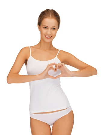 beautiful woman in cotton undrewear forming heart shape Stock Photo - 15598364