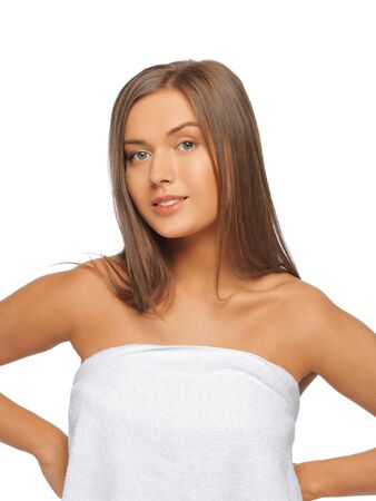 bright picture of beautiful woman in towel Stock Photo - 15618725