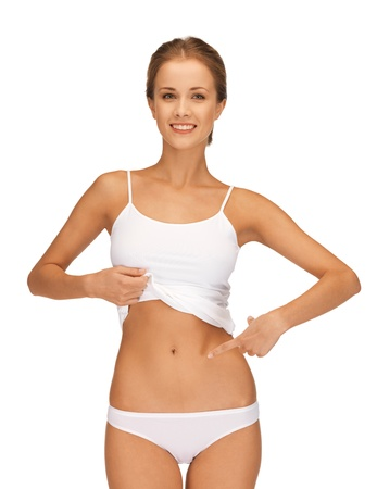 picture of woman in cotton underwear showing slimming concept Stock Photo - 15618698
