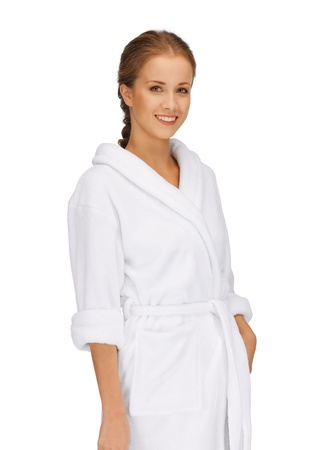 picture of beautiful woman in white bathrobe Stock Photo - 15618700