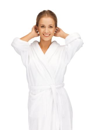mimos: imagen de hermosa mujer en bata blanca Foto de archivo