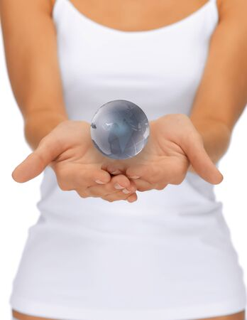 bright closeup picture of woman hands holding earth globe Stock Photo - 15618715