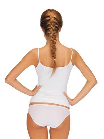 woman panties: rear view of beautiful woman in cotton undrewear