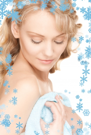 bright picture of lovely woman in towel over white Stock Photo - 15618711