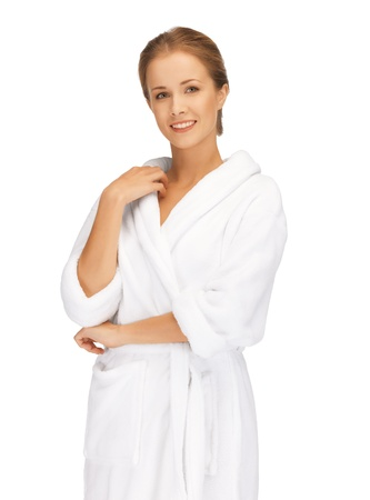 dayspa: picture of beautiful woman in white bathrobe Stock Photo