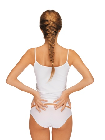 rear view of beautiful woman in cotton undrewear photo