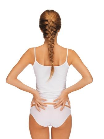 bragas: Vista trasera de una mujer hermosa en undrewear algodón