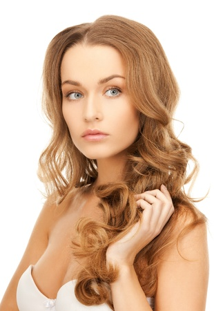 beautiful long hair: bright picture of beautiful woman with long hair