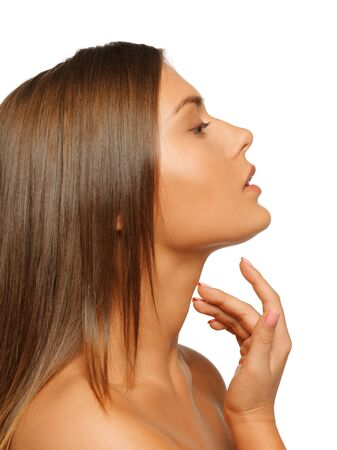 face and hands of beautiful woman with long hair Stock Photo - 15692117