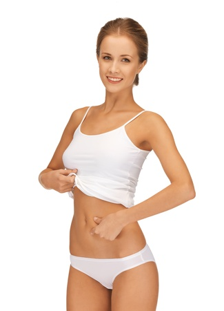 women in underwear: picture of woman in cotton underwear showing slimming concept
