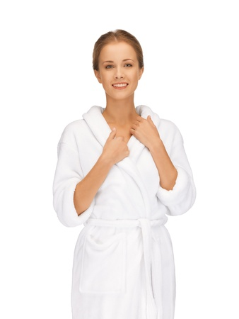 picture of beautiful woman in white bathrobe Stock Photo - 15692010