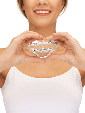 bright picture of smiling woman with big diamond Stock Photo - 15692108