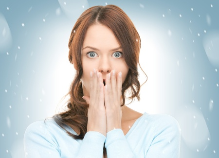 bruit: bright picture of pretty woman with hands over mouth  Stock Photo