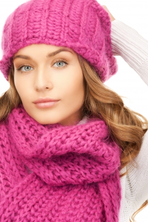 picture of beautiful woman in winter hat  Stock Photo - 15692114