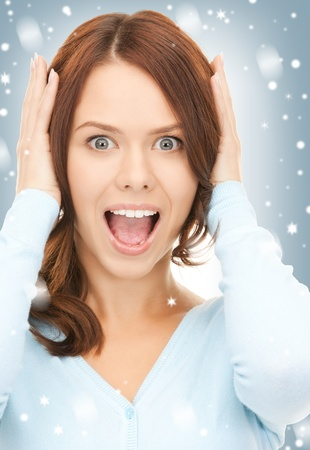 misery: bright picture of screaming woman over white  Stock Photo