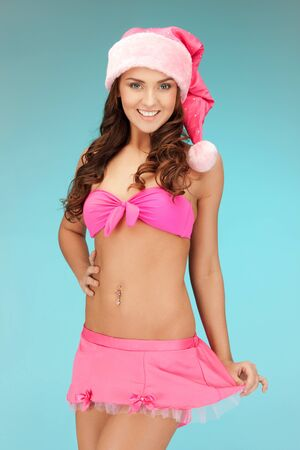 picture of cheerful santa helper girl in lingerie Stock Photo - 15692093