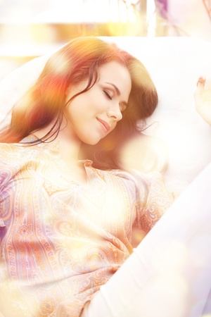picture of happy sleeping woman at home Stock Photo - 15692006