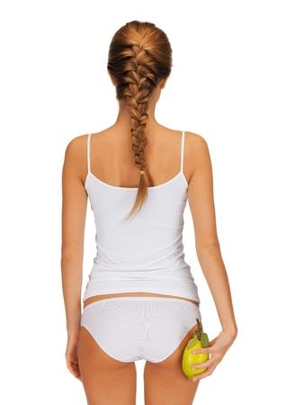 niñas en ropa interior: Foto de mujer con limón amarillo que muestra concepto de adelgazamiento