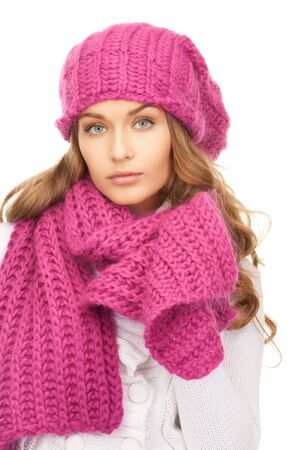 clothing model: picture of beautiful woman in winter hat  Stock Photo