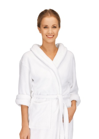 picture of beautiful woman in white bathrobe Stock Photo - 15737800