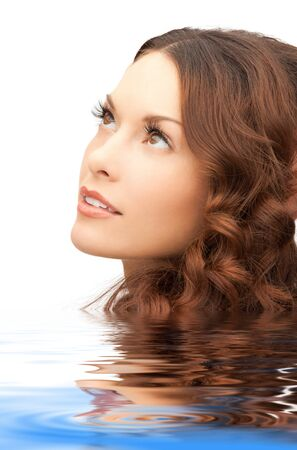 attractive gorgeous: bright closeup portrait picture of beautiful woman in water