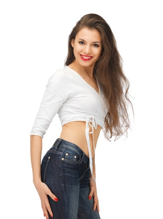 attractive gorgeous: bright picture of beautiful woman in casual clothes