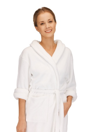 picture of beautiful woman in white bathrobe Stock Photo - 15760320