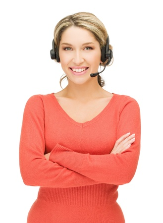 call center people in isolated: bright picture of friendly female helpline operator