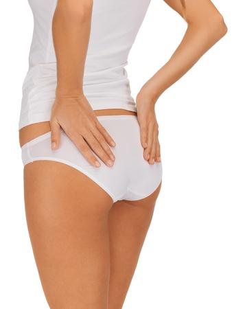 cuerpo femenino perfecto: Primer plano retrato de mujer en ropa interior de algodón que muestra concepto de adelgazamiento Foto de archivo