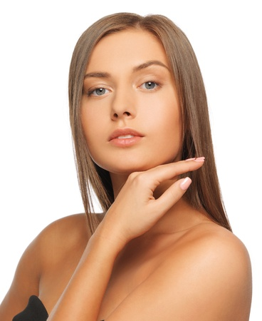 tanned: face and hands of beautiful woman with long hair Stock Photo