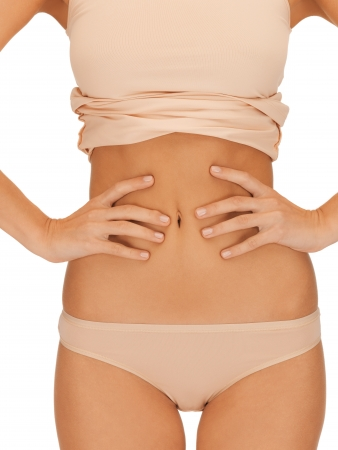 bright closeup picture of woman body in beige cotton undrewear Stock Photo - 15904953