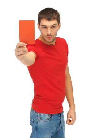 bright picture of handsome man with red card  photo