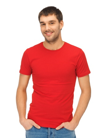t shirt: bright picture of handsome man in red shirt