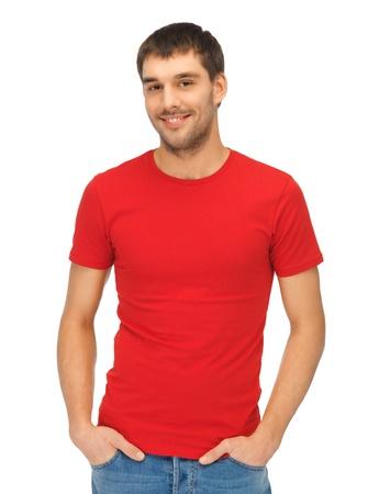 red man: brillante imagen de hombre guapo con camiseta roja