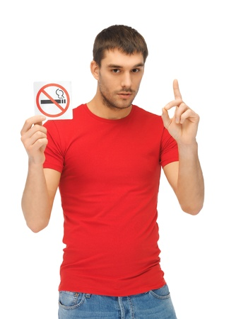 killing cancer: picture of serious man in red shirt with no smoking sign