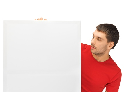 bright picture of handsome man with big blank board Stock Photo - 15871796