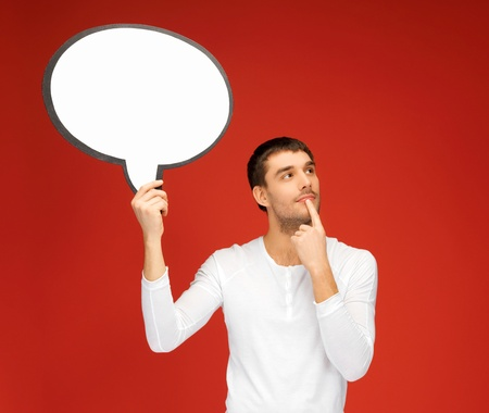 wondering: bright picture of pensive man with blank text bubble