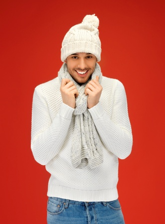 picture of handsome man in warm sweater, hat and scarf  Stock Photo - 15896106