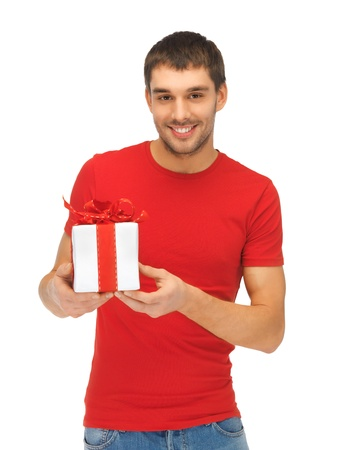 bright picture of handsome man with a gift