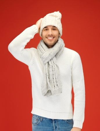 picture of handsome man in warm sweater, hat and scarf  Stock Photo - 15912976