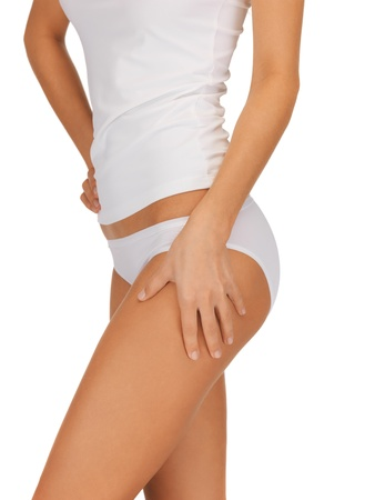 butt: closeup picture of woman in cotton underwear showing slimming concept