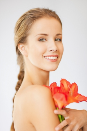 bright picture of lovely woman with lily flower  Stock Photo - 15912968