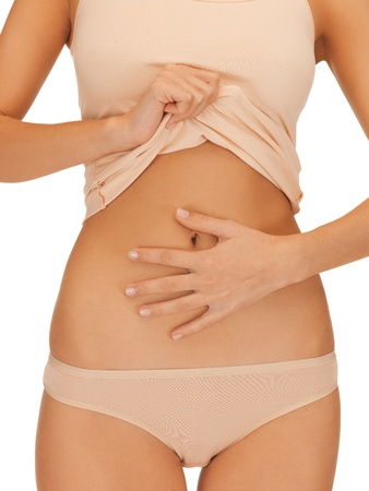 birthing: bright closeup picture of woman body in beige cotton undrewear