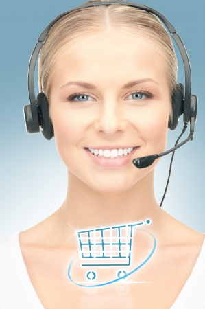 virtual assistant: bright picture of friendly female helpline operator