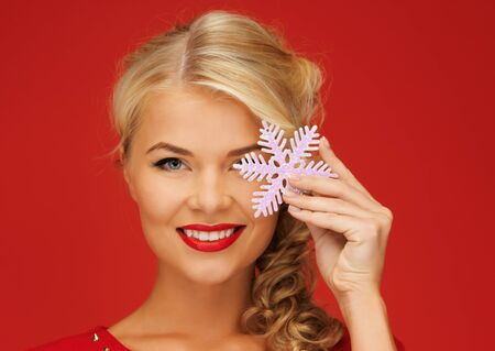 picture of lovely woman in red dress with snowflake Stock Photo - 15977569
