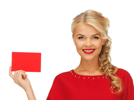 picture of lovely woman in red dress with note card Stock Photo - 15977584