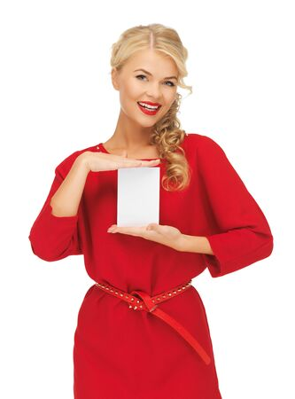 picture of lovely woman in red dress with note card Stock Photo - 15977594