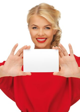 picture of lovely woman in red dress with note card  focus on hands  Stock Photo - 15977596