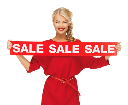 picture of lovely woman in red dress with sale sign Stock Photo - 15977592
