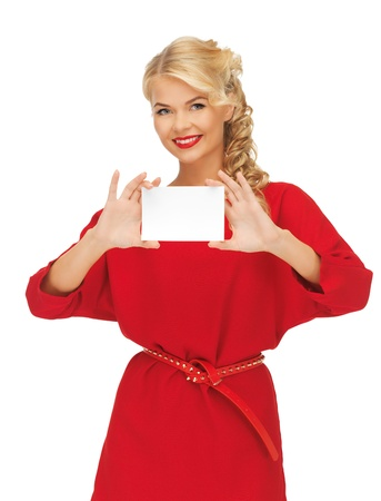 picture of lovely woman in red dress with note card Stock Photo - 16346506